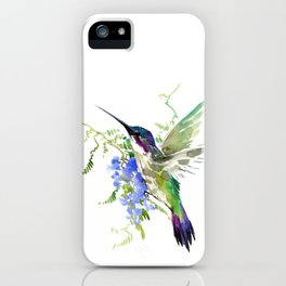 Hummingbird and Blue Flowers iPhone Case
