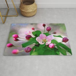 Crabapple flowers and buds. Outburst of life Rug