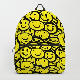 Smiley Face Yellow Backpack