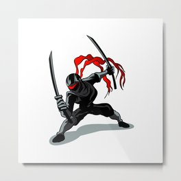 cartoon ninja in action Metal Print