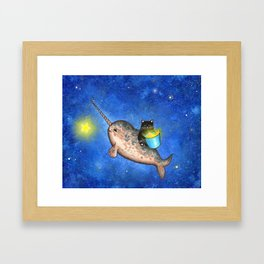 Hanging Stars with a Friendly Narwhal Framed Art Print