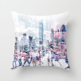 people in the city   - abstract city skyline and people on street double exposure Throw Pillow