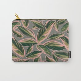 Calathea Leaves Pattern- Pink Green Gray Carry-All Pouch