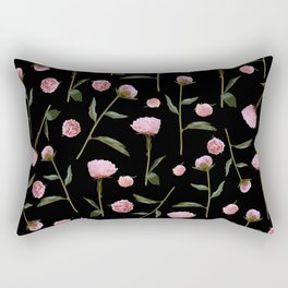 Peonies on Black Rectangular Pillow