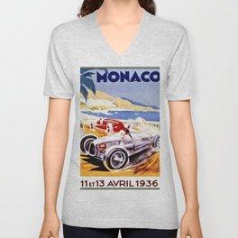 Vintage 1936 Monaco Grand Prix Racing Wall Art Unisex V-Neck