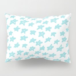 Stars mint on white background, hand painted Pillow Sham