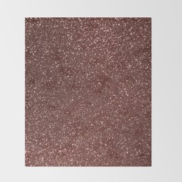 Ruby Pink Copper Glitter Throw Blanket