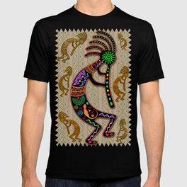 Kokopelli Rainbow Colors on Tribal Pattern  T-shirt