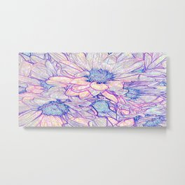 Colorful Floral Sketch Abstract Metal Print