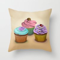 cupcakes Throw Pillows featuring Cupcakes!  by Megs stuff...