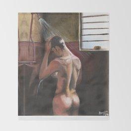 Nude in Shower (Dominic Monaghan) Throw Blanket