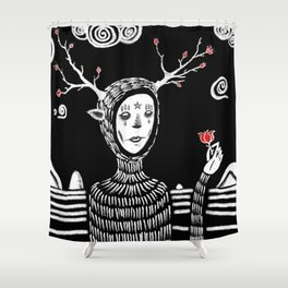 """Abstract black and white painting. """"I Never Thought These Would Grow Back"""" Shower Curtain"""