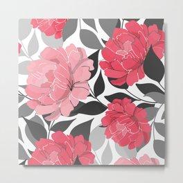 Blush and Bashful Flower Pattern on Black and White Metal Print