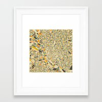 dallas Framed Art Prints featuring Dallas Map by Jazzberry Blue