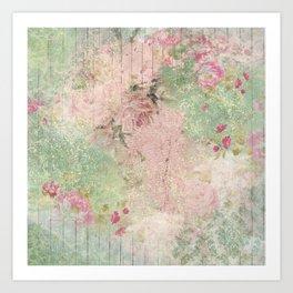 Shabby Garden Fence - Mauve & Mint Art Print