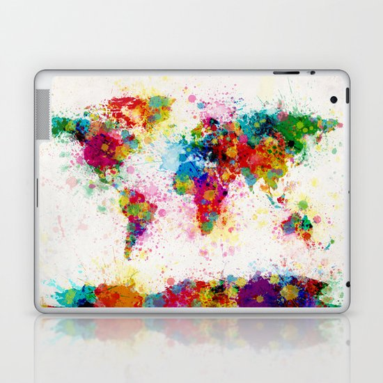 Map of the World Map Paint Splashes Laptop & iPad Skin