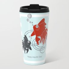 Happy Aquatic Days - Funny Cute Goldfish Travel Mug