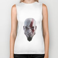 video games Biker Tanks featuring Triangles Video Games Heroes - Kratos by s2lart