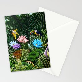 Classical Masterpiece 'Tropical Birds and Flying Things' by Henry Rousseau Stationery Cards