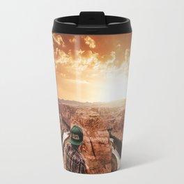 man on top of horse shoe bend Travel Mug