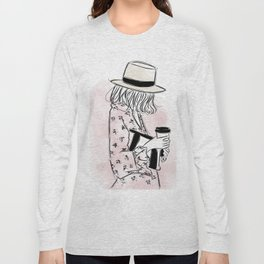 Casual young girl wearing hat and floral dress, clutch bag and a cup of coffee ready to hustle Long Sleeve T-shirt