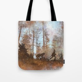 The dog and the boy and the stick and the forest Tote Bag