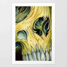 yellow water color skull Art Print