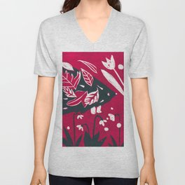 Hedgehog n Autumn Woods - Raspberry Red Palette Unisex V-Neck