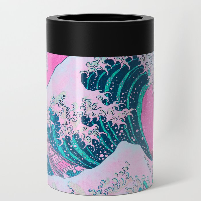 Vaporwave Aesthetic Great Wave Off Kanagawa Can Cooler