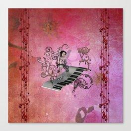 Cute fairy dancing on a piano Canvas Print
