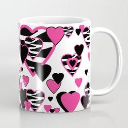 Hot Pink Zebra Animal Print Geometric Hearts Coffee Mug