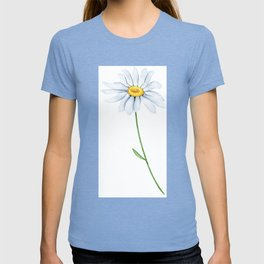 Spring Daisies On Sky Blue Watercolour T-shirt
