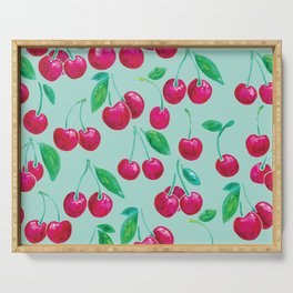 Watercolour Cherries | Mint Background Serving Tray