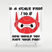 baymax Shower Curtains featuring baymax by kyokishop