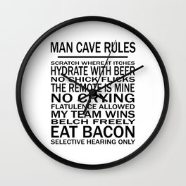 Man Cave Rules for Man Cave or Office Wall Clock