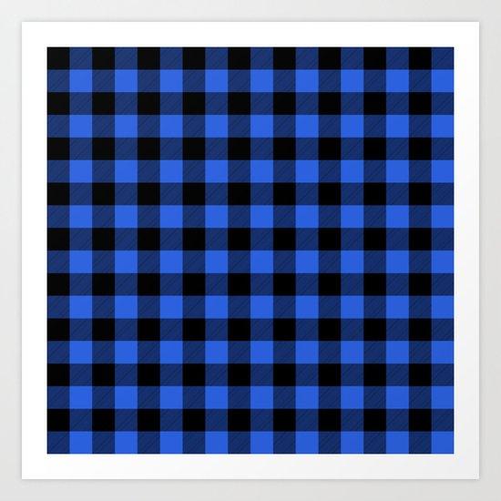Royal Blue and Black Lumberjack Buffalo Plaid Fabric by podartist