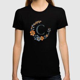 Monogram C Orange Autumn Floral Wreath T-shirt