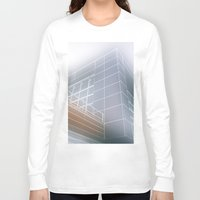 architect Long Sleeve T-shirts featuring Minimalist architect drawing by Solar Designs