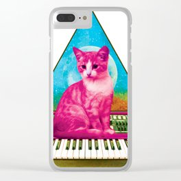 Cat on Synthesizer Clear iPhone Case