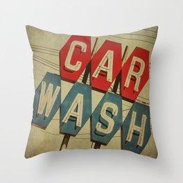 Retro Car Wash Sign Throw Pillow