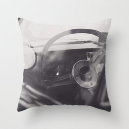 Black & white macro photo of steering wheel from a british car. Classy fine art Triumph Spitfire. Re Throw Pillow