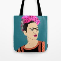 frida kahlo Tote Bags featuring Frida Kahlo by Stephanie Jett
