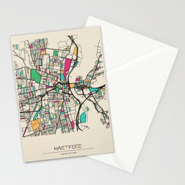 Colorful City Maps: Hartford, Connecticut Stationery Cards