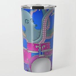 Octopus Playing Drums - Blue Travel Mug