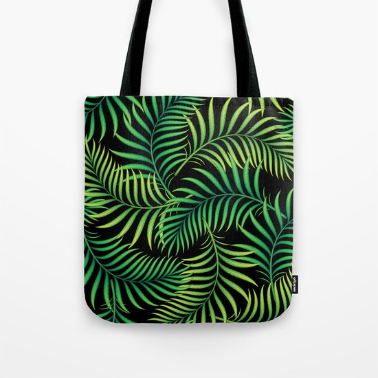Night Jungle. Tropical Pattern / Palm leaves Tote Bag