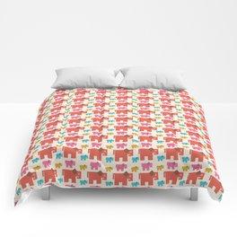 Geometric Happy Elephants Comforters