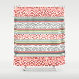 Boho Mandala Coral Striped Pattern Shower Curtain