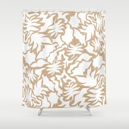 Minimal Shapes Peach Skintone Fall Palm Leaf Pattern Digital Art Print Shower Curtain