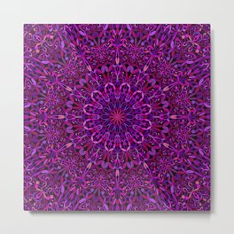 Pretty Purple Mandala Garden Metal Print