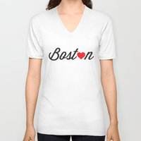 boston V-neck T-shirts featuring Boston by Julia Paige Designs